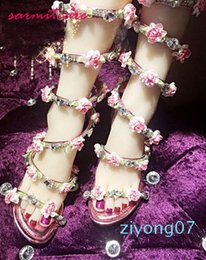 shape flat Canada - Hot Sale-New Handmade Snake Shape Women High Heel or Wedge Heel or Flat Sandals with Rhinestones and Flowers Fashion Gladiator Sandals z07