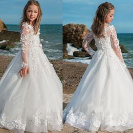White Tutus For Girls Australia - Vintage Flower Girl Dresses For Weddings White Ivory Custom Made Princess Tutu Lace Appliqued Lace Wedding Kids First Communion