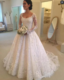 $enCountryForm.capitalKeyWord Australia - 2020 Vintage Plus Size Formal A Line Wedding Dresses Scoop Neck Lace Appliques Long Sleeves Illusion Sweep Train Cheap Custom Bridal Gowns