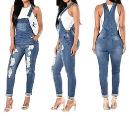 Wholesale Women Ripped Denim Jumpsuits Hole Long Overalls Jeans Jumpsuits Feminine Casual Washed Hollow Out Rompers LJJA2649