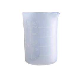 mold mix 2020 - 250mL Silicone Measuring Cup Multiple Times Use For Resin Cast Epoxy Mixing Cup UV Resin Mold Craft Tool Semi Clear disc