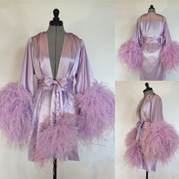 Wholesale satin bathrobes for women online – Light Purple Wedding Robes V neck Long Sleeve Silk Satin Feather Customized Housewear Women Bathrobe Knee length Night Gown For Women