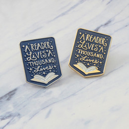 reader bag Australia - Book enamel pin Quote A reader lives a thousand lives Brooch Badge Lapel pin Denim Clothes Jeans Bags Gift for Booklover Kid friend
