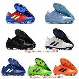 aaf8dc7b 2019 новые мужские футбольные бутсы Nemeziz Messi 18.1 FG футбольные бутсы  Nemeziz 18 chaussures de футбольные бутсы chuteiras de futebol orange  original