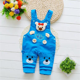 Infant Boys Leggings Australia - good quality 2019 baby boys overalls pants spring autumn cartoon bear Rompers toddler active clothing infant sport Strap Pants