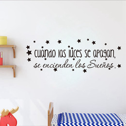 inspirational quotes wall art Australia - Children's Bedroom Vinyl Wall Decal The Dreams Come On Inspirational Spanish Quote Wall Stickers Baby Nursery Art Decor