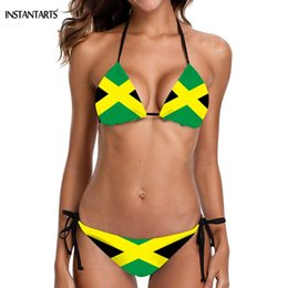 flag swimsuit ladies Australia - INSTANTARTS 2019 Summer Hot Sexy Halter Bikini Set Jamaica Flag Padded Lady Swimwear Bathing Beachwear XS S M L XL XXL Swimsuit