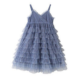 puffy skirt dresses knee length NZ - Girls lovely princess dresses summer baby new Korean children Sexy plaid puffy tulle princess Suspenders skirt