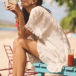 $enCountryForm.capitalKeyWord Australia - Women Summer 2019 Tassels Sloid Bikini Cover Up Ruffle Beach Dress Swimsuit Kaftan Beach Tunics Pareos Cape Smock Robe De Plage