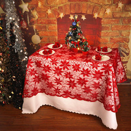 red party tablecloth Australia - 1pcs Christmas Decoration Round Red Lace Tablecloth Rectangle Christmas Flower Table Cover For Home Kitchen Cloth Party Supply