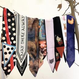Girls Cotton Poncho Wholesale Australia - Spring and Summer Print Long Silk Scarf Women Headband Handbag Wrist Wrap Ribbon Girls Choker Necktie Neckerchief