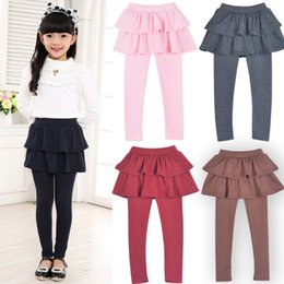 infant solid color tights NZ - Girls Skirt Pants Solid Toddler Girl Culottes Tutu Ruffle Children Skirt Pants Cake Trousers Cotton Infant Leggings 7 Colors DW4568
