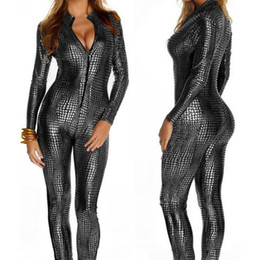 sexy long sleeve black jumpsuit NZ - Sexy Jumpsuit For Women Front Zip Long Sleeve Snakeskin Hot Girl Spandex Catsuit Black Silver Gold PU Leather Bodysuit