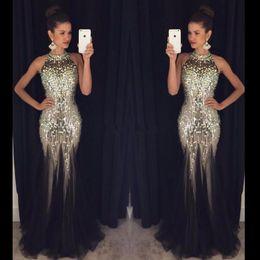 d3f956205f Dazzling Mermaid Prom Dresses 2019 Halter Neck Backless Crystal Black Sexy  Tulle Mermaid Evening Gowns Party Dress vestido de festa N25