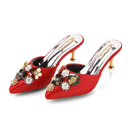 high heels wholesalers NZ - SAGACE Women's Slippers High Heels Mules Slippers Ladies Women Pointed Mule 2019 Crystal Floral Outside Shoes Woman Footwear