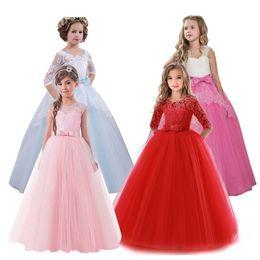 Discount dress for children 12 years - 2018 New Brand Flower Girls Dress Teenager Princess Wedding Party Kids Dresses For Girls Children Clothing 10 11 12 13 1