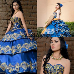 $enCountryForm.capitalKeyWord Australia - Royal Blue Luxury Embroidery Quinceanera Dresses Mexican vestidos de quinceañera elegantes Sweetheart Ruffles Tiered Formal Prom Party Gowns