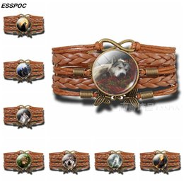 CaboChon Chain online shopping - Wolf Bracelet Howling Wolf and The Moon Glass Cabochon Multi layer Leather Bracelet Fashion Jewelry for Women Handmade Gift