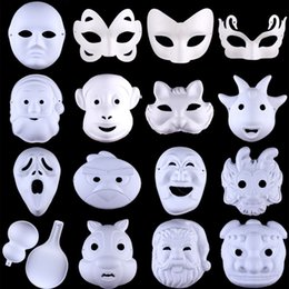 Wholesale face draw for sale - Group buy Hand Drawn Mask DIY Pulp Mask Blank Painting Mask Birthday Present Valentine Wedding Party Festive Easter Decoration