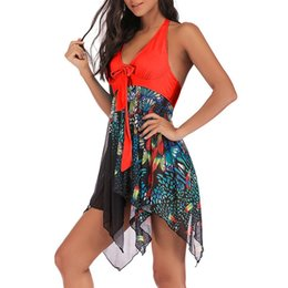 sexy one piece ruffled swimwear UK - Bikini Swimwear Fashion Women Tankini Floral Print Swimwear Two Piece Print Bathing Asymmetric Swimdress Sexy Swimsuit Bikinis