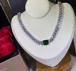 925 prata esterlina jóias gema pedra verde flor de cristal quadrado colar de rendas forma cz zircão diamante festa de aniversário jóias pingente venda por atacado