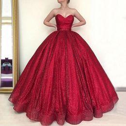 $enCountryForm.capitalKeyWord NZ - Shinning Red Prom Dresses Strapless Sequins Ball Gown Evening Dress Floor Length Zipper Back Girls Pageant Dress Party Vestidos Cheap