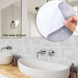 Furniture Wall Stickers Australia - Self Adhesive Waterproof Light Grey Wall Stickers Furniture Kitchen Bathroom Toilet DIY Tile Sticker Wall Decal Removale Wallpaper Set