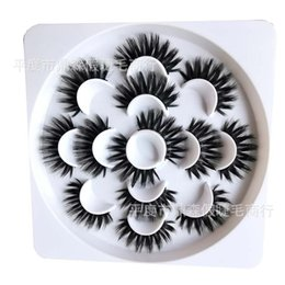 Wholesale 7 Pairs Box Natural False Eyelashes D Lashes Long Thick Fake Eyelashes Extension for Beauty Makeup Kit Round Tray