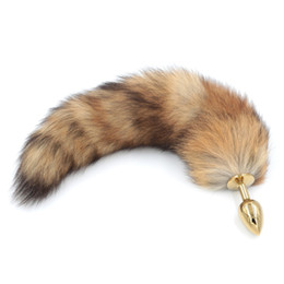 Sex toy red ball online shopping - Red Fox Tail Butt Anal Plug cm Long Real Fox Tails Golden Metal Anal Sex Toy cm Drop Shipping Y190716