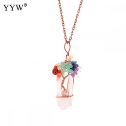 $enCountryForm.capitalKeyWord Australia - YYW Natural White Crystal Big Pendant Reiki Chakra Tree of Life Rose Gold Color Handmade Wire Wrapped Pendant for Necklace