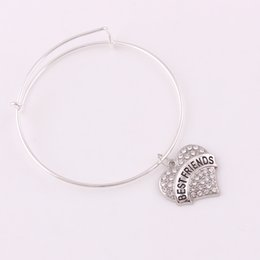 $enCountryForm.capitalKeyWord Australia - TX003 Heart Letter NAVY MOM DIABETIC BELIEVE ARMY crystal pendant Bangle BESTFRIENDS charm bracelet with TENNIS charms