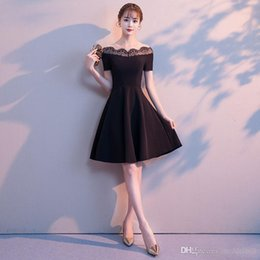 korean dresses pictures Canada - 2019 new party party cocktail dress black short style dress for Korean heiress shows slim v-neck medium length dress