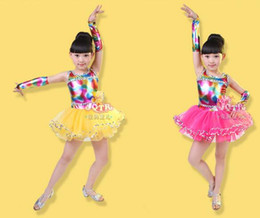 Wholesale rainbow woman costume for sale – custom Hot Sale Discount Rainbow Colorful Colors Pink Yellow Kids Girls Vestidos De Baile Modern Dance Dress Costume Skirts