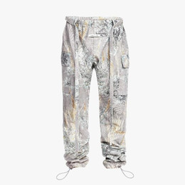 China 19ss top Hip-hop Season 6 High Street Rope Strap Twill jeans with bunched legs Prairie Soul Camouflage men women PANTS Jeans cheap strap pants men suppliers