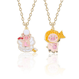$enCountryForm.capitalKeyWord Australia - Colorful DIY Cute Pig Necklace For Women Girls Lovely Alloy Metal Pendant Necklaces Clavicle Gold Long Chain Dropshipping 2019