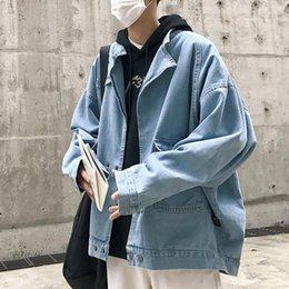 $enCountryForm.capitalKeyWord Australia - 2018 Autumn New Jeans Jackets Retro Fashion Tide Men's Denim Jacket Washed Metal Button Light Blue Dark Blue M-XL Bomber Jacket