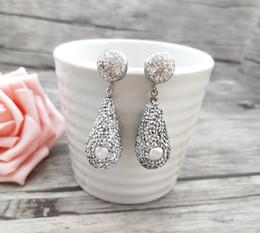 $enCountryForm.capitalKeyWord Australia - 1 pair Fashion Jewelry Teardrop Shape Earrings,handmade Pave Rhinestone crystal pearl bead Dangle Earrings ER696