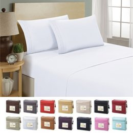 Sheet california king Size online shopping - for home hotel Solid color Bedding sets Fitted sheet Flat sheets Pillowcase Microfiber Bed cover set Twin Full Queen California King size