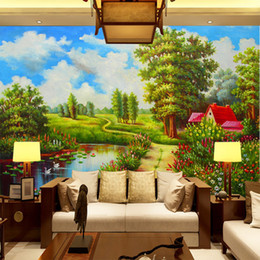 beautiful oil painting for bedroom 2020 - European oil painting natural beautiful landscape scenery wallpaper living room sofa TV Background wall wallpaper mural