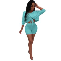 Pink Clothing Women UK - Womens Tracksuit sportswear outfits Two piece set Jogging Sports short sleeves shorts Suits Club wear sexy Sportswear women clothing hot