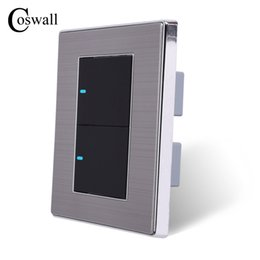 led touch button switch Australia - LED Light 2 Gang 2 Way Switch Push Button Wall Switch Interruptor Brushed Silver Panel 10A AC 110~250V