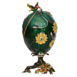 Hummingbird Gifts UK - Enameled Hummingbird on Faberge Egg Trinket Jewelry Box Easter Gifts Collectible Figurines Creative Gifts