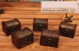 Wholesale Wood Boxes NZ - Vintage Jewelry Box Organizer Storage Case Mini Wood Flower Pattern Metal Container Handmade Wooden Small Boxes