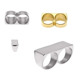 $enCountryForm.capitalKeyWord Australia - Silver and Gold No. 10 Double Finger Double Ring security knuckle duster Personality Double Finger Ring Hip Hop Gold Plated Stainless Steel