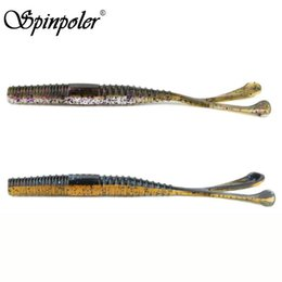 jigs lures for fishing Australia - Spinpoler 5pcs Soft Plastic Ear Tail Stick Worm Lure 6in 0.36oz Jig Trailer Fishing Trackle Lure for Bass Carp Fishing