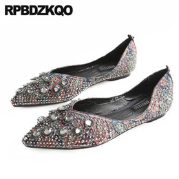 cheap shoes china latest slip on diamond chic rhinestone metal beautiful  pointed toe ladies chinese crystal flats size 9 women a489e50c5183