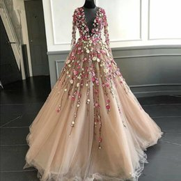 $enCountryForm.capitalKeyWord UK - Fairy 3D Floral Flowers Long Prom Dresses Illusion Neckline Floor Length Champagne Tulle Long Sleeves Chic Evening Dress Gown