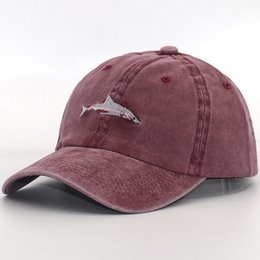 Discount sharks hats - new arrival Dad Hat cartoon shark embroidery wash cotton baseball cap Fashion snapback hats casual caps hat men sports c