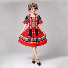 7ee944e856ed New arrival Chinese folk dance costumes Chinese Miao national traditional  performance dress stage costumes for singers Ethnic Clothing