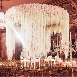 flower backdrop for wedding 2021 - White Artificial Orchid Wisteria Vine Flower 2 Meter Long Silk Wreaths For Wedding Backdrop Decoration Shooting Props 30pcs lot A25